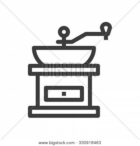 Manual Coffee Grinder Icon In Vintage Style. Classic Illustration. Linear Style. Editable Stroke. 48