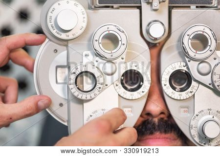 Eye Ophthalmologist Exam. Eyesight Recovery. Astigmatism Check Concept. Ophthalmology Diagnostic Dev