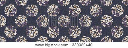 Daisy Moody Polka Dot Seamless Border Pattern. Modern Ditsy Tiny Flower Circle Ribbon Trim . Floral