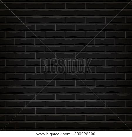 Vector Illustration Background Of The Black Brick Wall  With Shadow Around Frame And Bright On The M