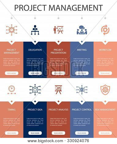 Project Management Infographic 10 Steps Ui Design.project Presentation, Meeting, Workflow, Risk Mana