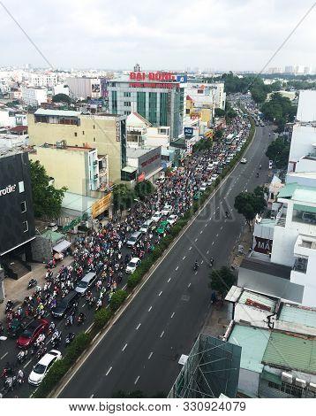 Saigon, Vietnam - Aug 5, 2019. Rush Hours On Main Street. In Ho Chi Minh City (saigon), Rush Hour Tr