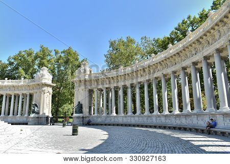 Monument A Alfonso Xii In The Garden Of The Retiro Park In Madrid. Spain. Europe. September 18, 2019
