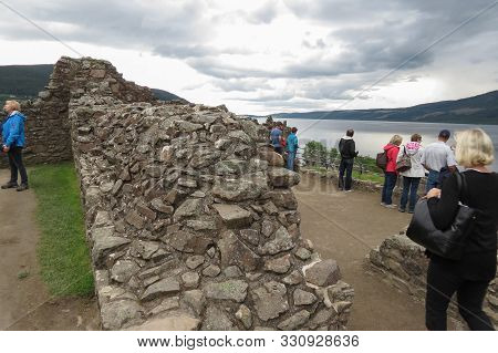 Urquhart Castle, Scotland - Circa August 2015: The Medieval Castle Of Urquhart