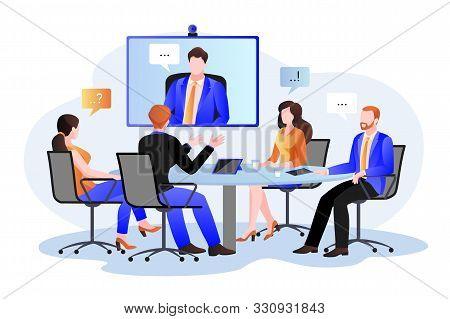 Business Team At The Video Conference Call In Boardroom. Vector Flat Cartoon Illustration. Online Me
