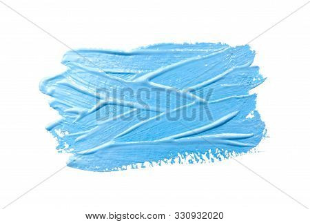 Paint Brush Stroke Texture Light Blue Watercolor Isolated On A White Background