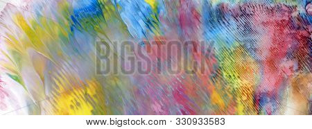 Abstract acrylic and watercolor smear painting. Canvas texture background. Horizontal long banner.