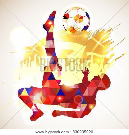 Silhouette Soccer Football Player And Ball, Fans On Grunge Background. Modern Poligonal Pattern. Vec
