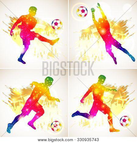 Set Silhouette Soccer Football Player, Goalkeeper And Ball. Soccer Fans On Grunge Background. Modern