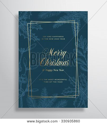 Merry Christmas Abstract Vector Greeting Card Or Holiday Poster. Classy Blue And Gold Colors And Typ