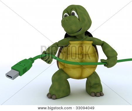 3D render of a tortoise with firewire cable