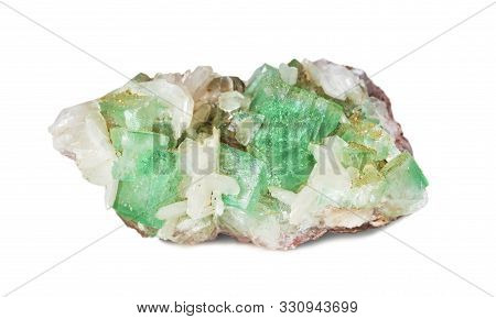 Crystals Of Transparent Green Apophyllite And White Stilbite Are On The Matrix. Mineralogical Collec