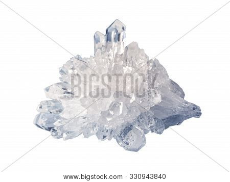 Beautiful Druse Of Transparent Crystals Of Rock Crystal, Isolated On A White Background, Close-up. R