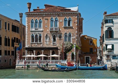 Venice, Italy: Venetian Palaces At The Grand Canal, View From Campo San Samuele, Venice, Italy