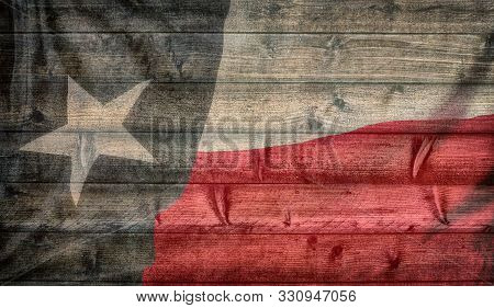Texas State Flag Pattern On Wooden Board Texture. Vintage Style Weathered Background.