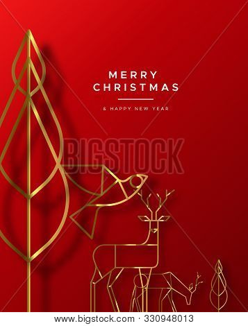 Merry Christmas Happy New Year Greeting Card Illustration Of Gold Winter Forest Animals In Art Deco
