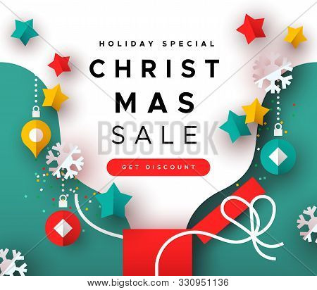 Christmas Sale Template, Colorful Xmas Gift Box With Paper Cut Holiday Decoration For Special Season