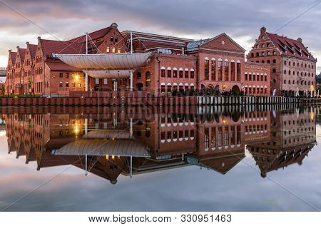 Gdansk, Poland - October 6, 2019: Sightseeing Of Poland. Cityscape Of Gdansk. Polish Baltic Philharm