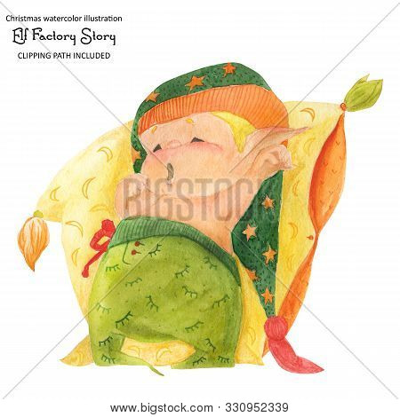 Christmas Elf Story, Elf-baby Go To Sleep, , Isolated Watercolor And Clipping Path