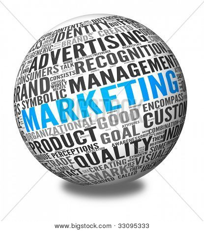 Marketing concept in word tag cloud on 3d sphere