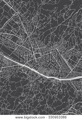 City Map Florence, Monochrome Detailed Plan, Vector Illustration  Black And White City Plan