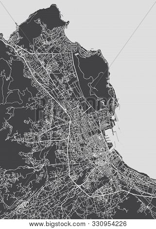 City Map Palermo, Monochrome Detailed Plan, Vector Illustration Black And White City Plan