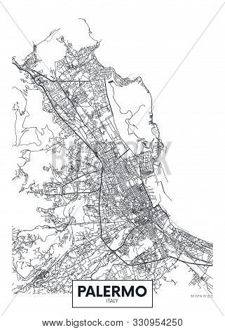 City Map Palermo, Travel Vector Poster Design Art For Interior Decoration