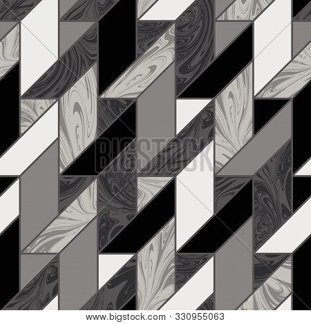 Marble Inlay Tile Mosaic Seamless Pattern Swatch