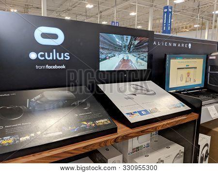 Honolulu - October 6, 2018: Oculus From Facebook And Alienware Display In Honolulu Best Buy Store.