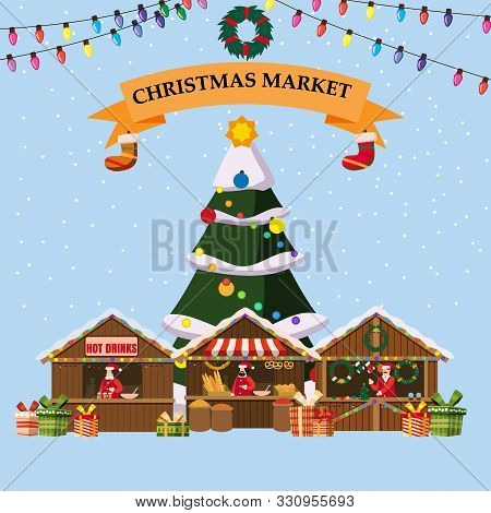 Christmas Souvenirs Market Stalls With Decorations Souvenirs And Bakery. Big Christmas Tree Xmas Sho