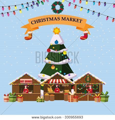 Christmas Souvenirs Market Stalls With Decorations Souvenirs And Bakery. Big Christmas Tree Xmas Sho