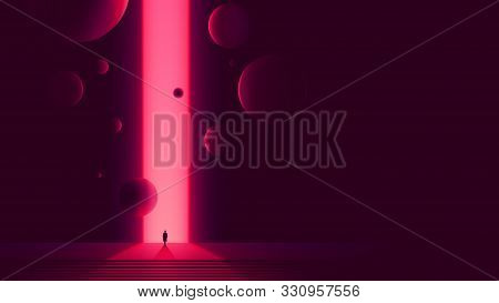 Human Figure In Front Of Portal To Another Dimension, Space Gate With A Bright Pink Glow And Flying