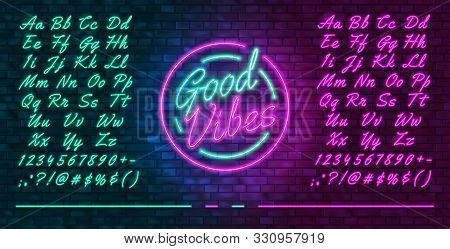 Neon Futuristic Font, Luminous Blue And Pink Uppercase And Lowercase Letters, Colorful Bright Neon H
