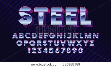 Retro Futuristic Latin Font, Shiny Chrome Letters And Numbers, Stylish Retro Synth Wave Alphabet Met