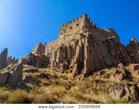 Bottom View Of The Rocky Cliffs At The Bottom Of The Tower Of Ankara Castle (turkey). The Walls Of A