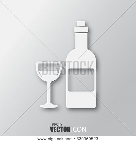 Wine Icon In White Style With Shadow Isolated On Grey Background.