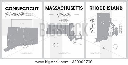 Vector Posters With Highly Detailed Silhouettes Of Maps Of The States Of America, Division New Engla