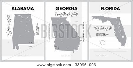 Vector Posters With Highly Detailed Silhouettes Of Maps Of The States Of America, Division South Atl