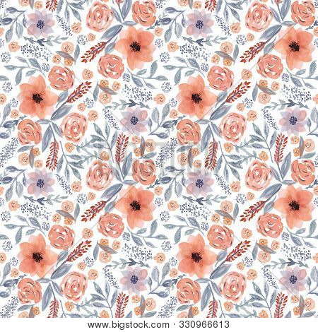 Tender Beautiful Seamless Pattern With Hand Drawn Watercolor Orange Flowers And Blue Leaves On White