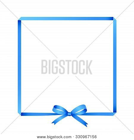 Blue Ribbon Border Frame With Bow Made With Gradients In Vector. Isolated On White Background.