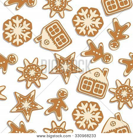 Vector Seamless Christmas  Background With Gingerbread Cookies. Seamless Winter Pattern For Happy Ne