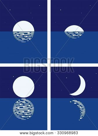 Vector Background Set Of Sea, Full Moon And Half Moon Phases At Night. Illustration Of Light Reflect