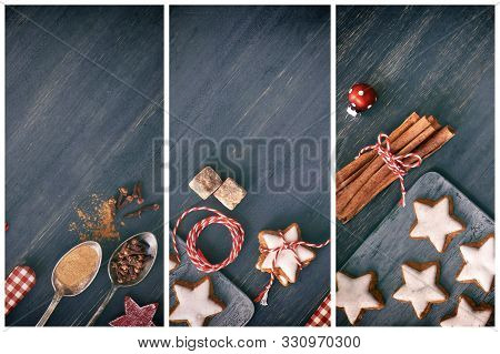 Christmas Collage With Flat Lay Images In White And Red On Dark Wood. Top View On Christmas Cookies,