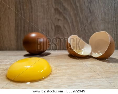 Chicken Eggs. Broken Chicken Egg. Raw Chicken Eggs.