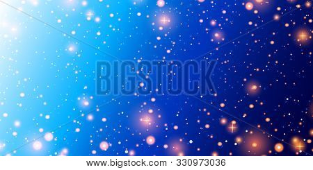 Shining Outer Space With Planets, Nebulae And Stars. Cosmos. Night Sky With Lights And Stars. Blue S
