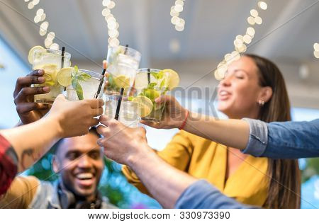 Best Friends Drinking Together At Fashion Bar Restaurant - Friendship Concept With Young People Havi