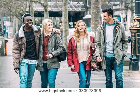 Multiracial Group Of Millenial Friends Walking At London City Center - Next Generation Friendship Co
