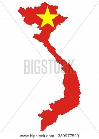 Flag Map Of Vietnam Officially The Socialist Republic Of Vietnam. Vector Illustration Eps 10.