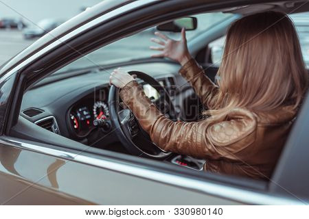 Woman Driving Car Jacket, Shouting Swearing Negative Accident Stress On Road, Parking Shopping Cente