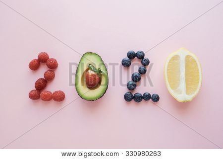 2020 Made From Healthy Food On Pastel Background, Healhty New Year Resolution Diet And Lifestyle